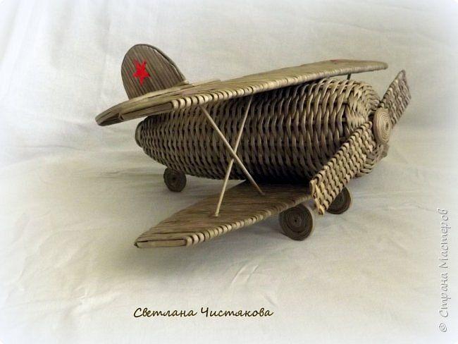 Макет модель Поделка изделие День Победы Плетение Самолет Бумага газетная фото 4