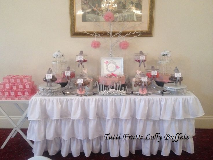 Pink and Silver Wedding Candy Buffet