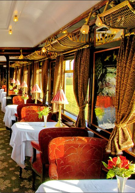 ... nothing like the luxury of an old train: velvet, wood, mouldings, paintings, carved detail, lamps, carpet, porcelain, crystal...