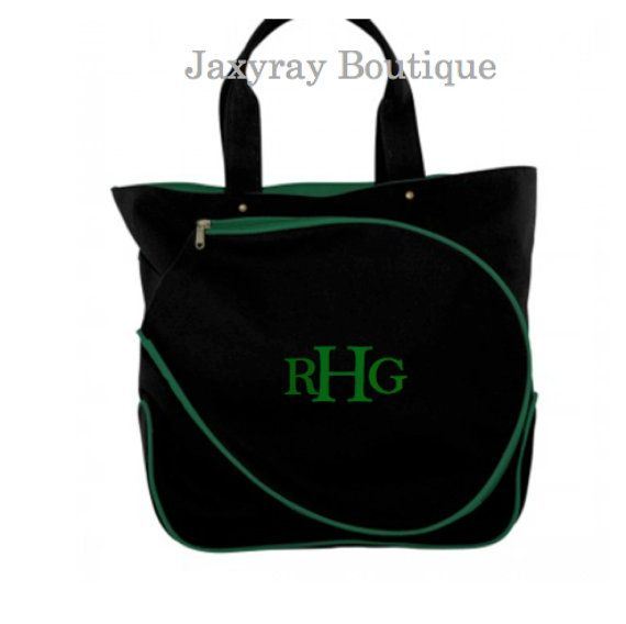 High Quality Monogrammed Tennis Tote Bag Choice Of Pink And Natural Black Green