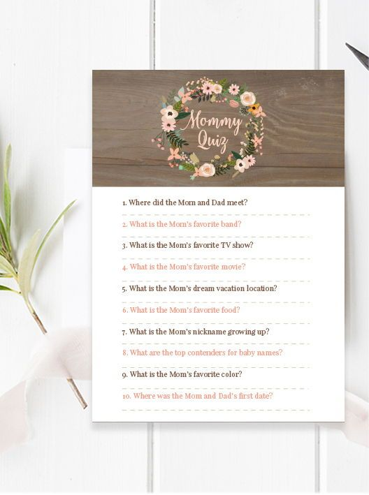 Coral Pink Flowers Mommy Quiz Game Rustic Gold Floral Wreath