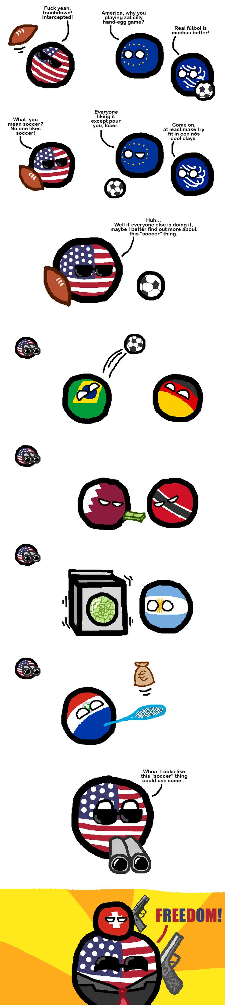 America Gets Interested In Soccer ( USA, Europe, Brazil, Germany, Qatar, Trinidad and Tobago, Argentina, Paraguay, Switch ) by the sunisup  #polandball #countryball