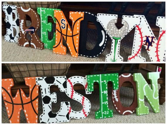 Sports Fan Large Wooden Letters Customized by MelanieLupien
