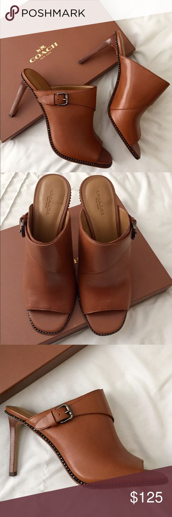 Coach Luggage Maple slides Gorgeous and comfortable Coach Luggage Maple slides. Size 8.5, new in box Coach Shoes Heels