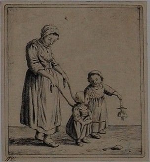 A young woman standing almost in profile at the left, holding a child by its harness, another child holding a doll at the right; additional retouchings. Etching. Although this print does not show the artist's name, it was probably made by Johannes Christiaan Janson for stilistic reasons. This print is possibly after Christina Chalon.1778-1823. British Museum