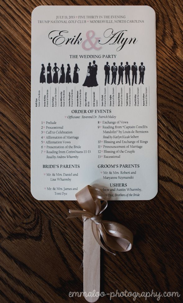 Best 25 wedding program board ideas on pinterest wedding love the bridal party silhouettes great idea for outdoor weddingsuble the program as a fan guests can use to cool themselves off solutioingenieria Choice Image