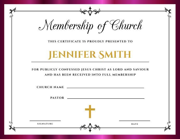 Church Membership Certificate Certificate Templates Template Design Templates
