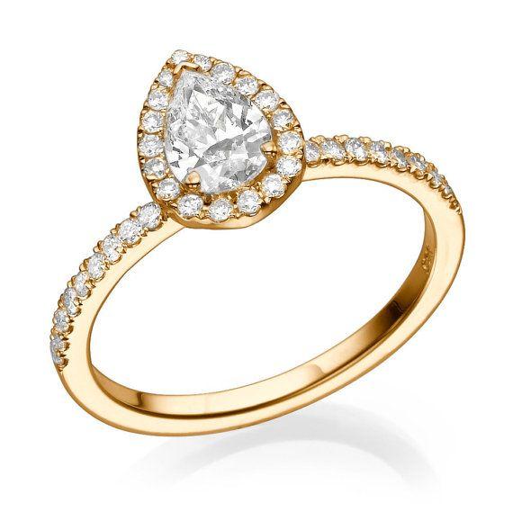 Pear Shaped Ring, 1.00 Carat Diamond Engagement Ring, Halo Ring Setting, 14K Rose Gold Engagement Ring, Pear Ring