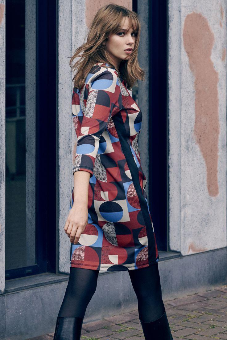 Expresso jurk met geometrische print