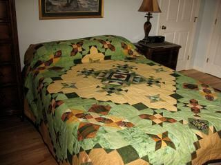 """Delbert and Leona"" pattern by Whirligig Designs in Green and Gold, King Size"