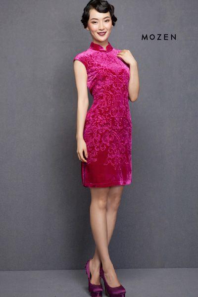 Silk, Floral, Embroidery,  Qipao, Cheongsam, Velvet, New Year outfit! http://www.lastyleloft.com/online/shop-by-designer/mozen/