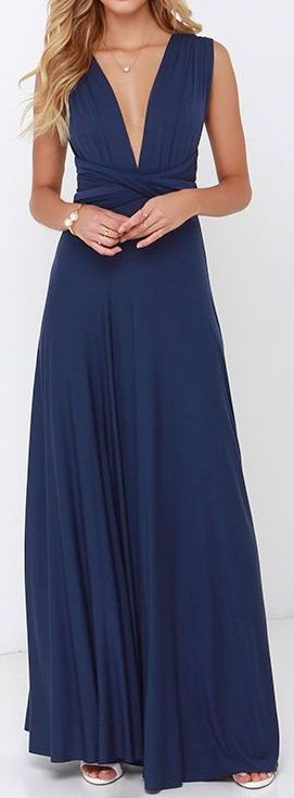 Navy Maxi Dress  women fashion outfit clothing style apparel @roressclothes closet ideas