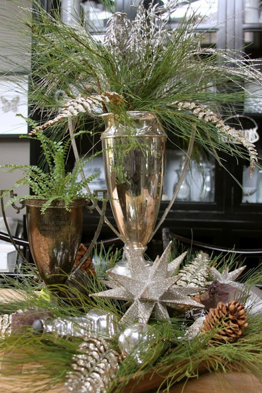 Christmas Holiday Decorating. Antique Silver with Greens