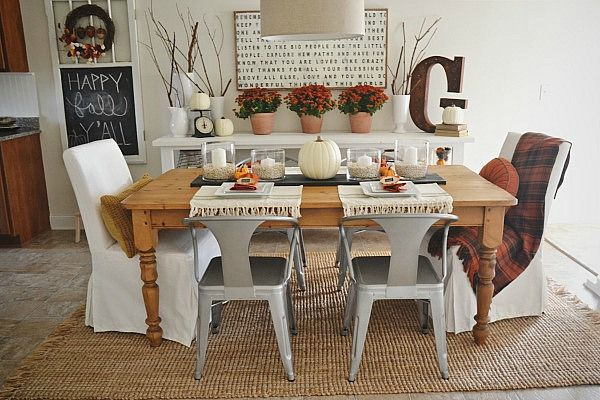 Fall dining room reveal runners chalkboard table and Dining room table runner ideas