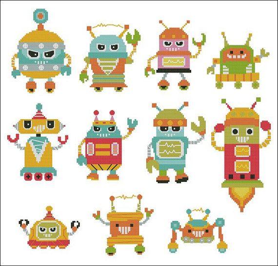 I Robot  Naughty Bots  Minis Cross Stitch PDF Chart by PinoyStitch, $7.50