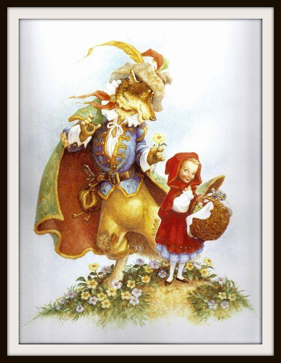 Little Red Riding Hood + lobo libro de la impresión (2003): Vivero Frameable pared arte, imagen de cuento de hadas, dormitorio de niña, Ilustración, marrón de la fantasía