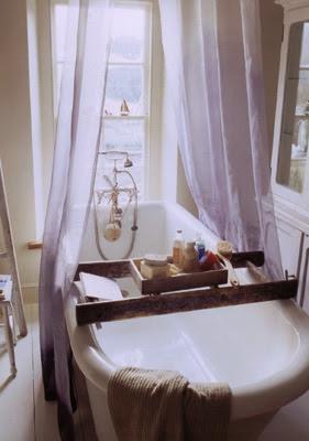 Old ladder for bath tray