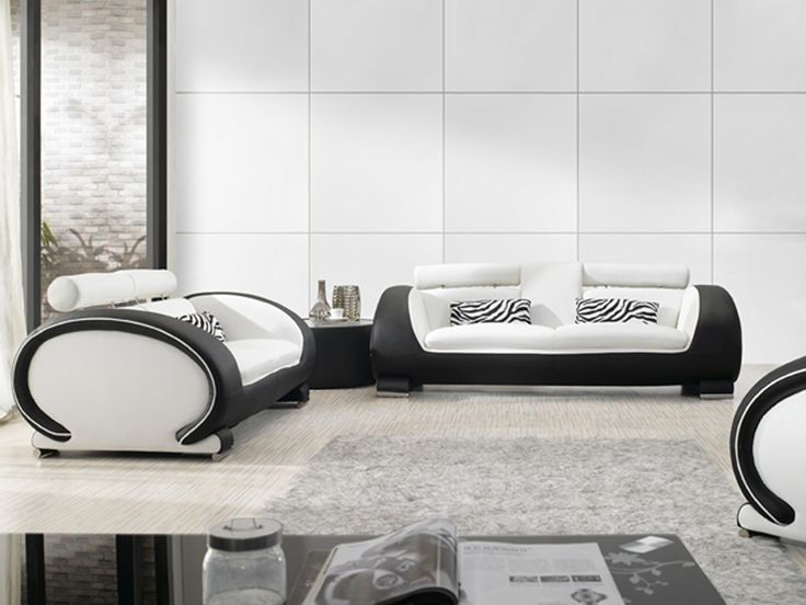 Black And White Bonded Leather Sofa Set