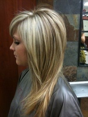 Long layered hair cut and dark blonde highlights