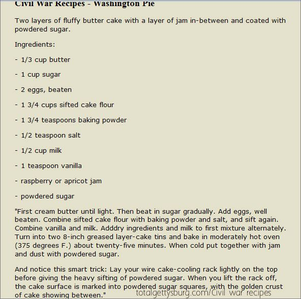 """I got this from the site """"totalgettysburg.com/civil war recipes"""".They have other great old recipes too!"""