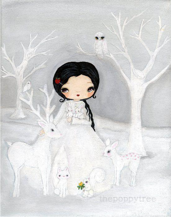 Schneewittchen Print Märchen Kunst White Forest Kinderzimmer Dekor Kinder Tier Kunstdruck Hirsch Eule Fox Eichhörnchen Wald — weiß als Schneedruck