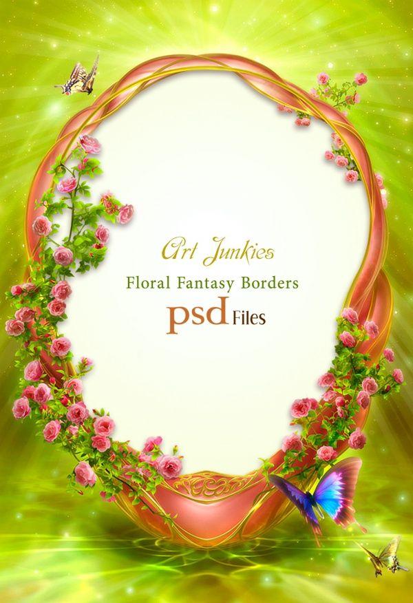 Exquisite-flower-decoration-PSD-frame-design.jpg (JPEG Image, 600×876 pixels)