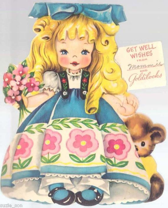 Vintage 1949 American Greetings Paper Doll Card Goldilocks and the Three Bears