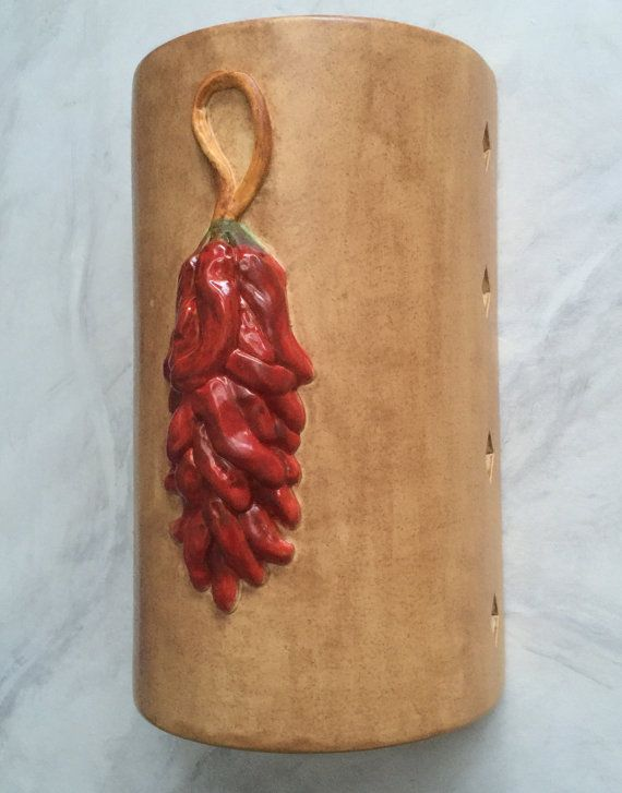 Red Chile Ristra Handmade Ceramic Wall Sconce by CustomCutLighting