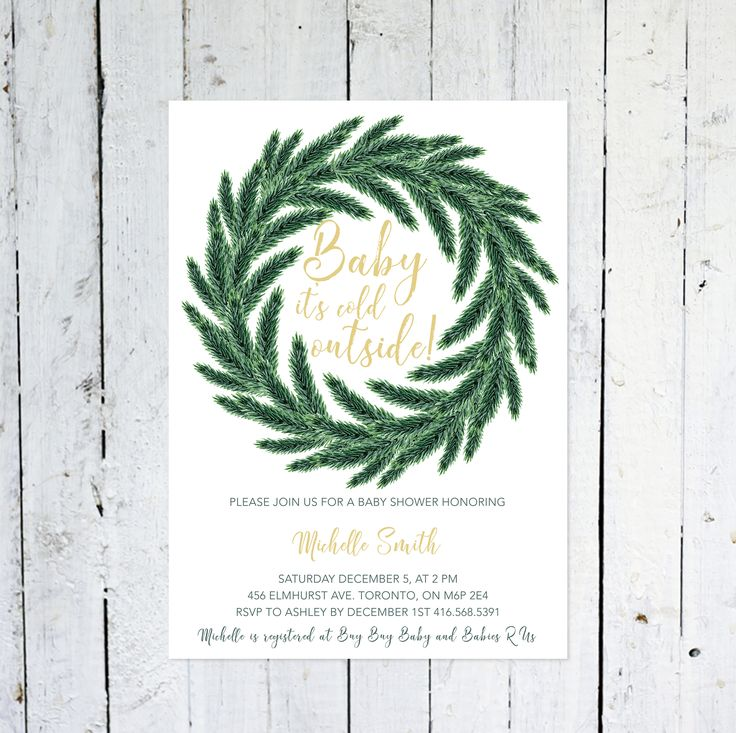 Baby Shower Invitation, Gender Neutral, Winter Baby Shower Invitation, Wreath, Green, Pine Tree, Evergreen, Printed, Printable by vocatio on Etsy https://www.etsy.com/ca/listing/556540702/baby-shower-invitation-gender-neutral