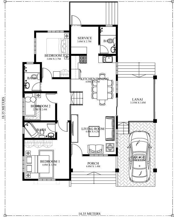 Home Design Plan 14x18m With 3 Bedrooms Home Design With Plan One Storey House Bungalow House Plans Bungalow House Design