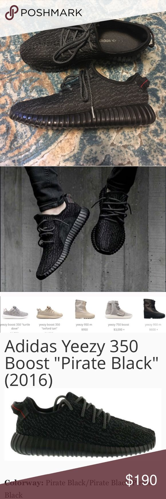 Yeezy Boost 350 Pirate Black UA **PLEASE READ** These are a pair of very well made UA (Non Authentic) Yeezy Boost 350 Sneakers by  Adidas. They were given as a gift and if they were not half a size too small for me I'd be rockin them all over NYC lol. I'm not a big fan of non authentic gear but these pass the test! Please see pics I have provided for information and comparison. Price reflects how good these look. Please leave your questions below, PRICE FIRM 💪🏽 adidas Shoes Sneakers