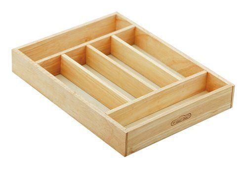 Mountain Woods SWT6 6 COMPARTMENT SILVERWARE TRAY NATURAL by Mountain Woods. $19.95. Measures 16-by-12-by-2.5-inches. Features 6 divided compartments. Keep your kitchen tools organized. Fits in almost any drawer. Made of plantation grown Asian Hardwood. This handsome organizing tray will keep your kitchen tools easy to find. The six compartments are big enough to store a full six piece, eight place setting. Place it on a counter top or fits any drawer to keeps y...