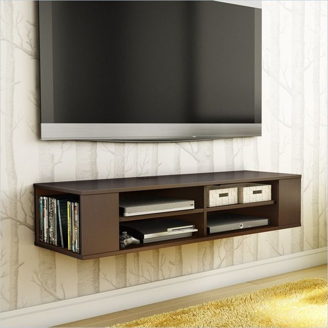 South Shore City Life Wall Mounted Media Console in Chocolate transitional-media-storage