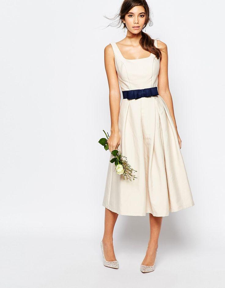 Image 4 ofChi Chi London Round Neck Midi Prom Dress with Box Pleats