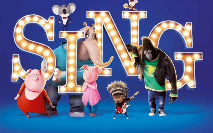 Sing, 2016 movie, poster, characters, 3D-animation