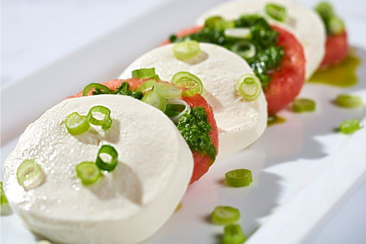 Watermelon Caprese with Lemon Arugula Pesto