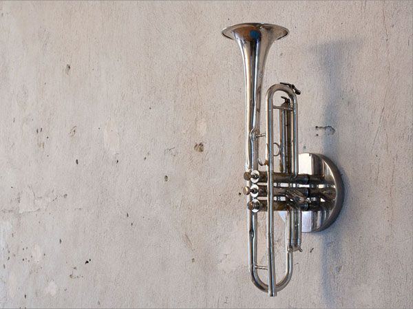 Recycling Used Brass Musical Instruments for Unique Lighting, Music Lights by Mitya Hashak