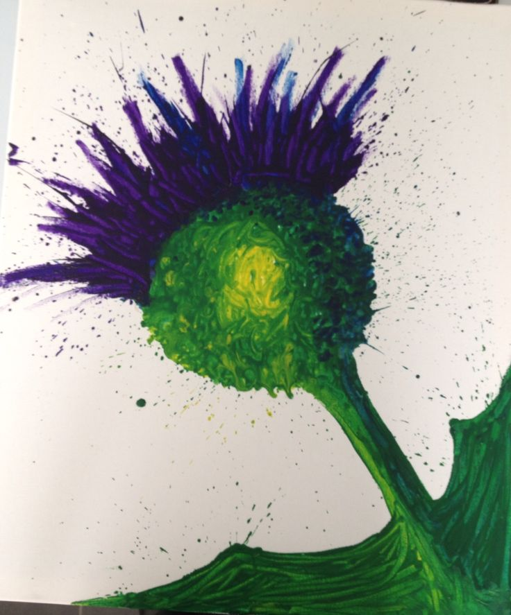 Crayon art thistle