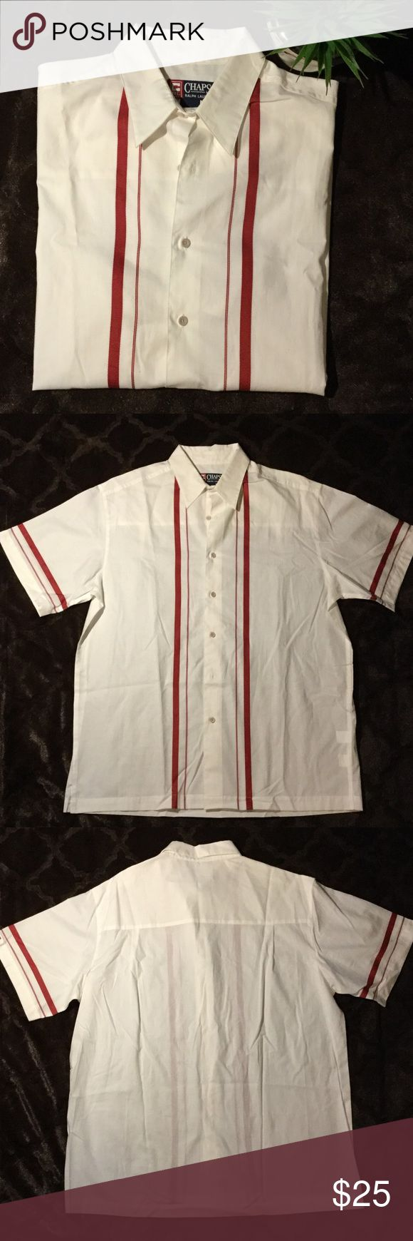 "NWOT Chaps RL Cubavera ""Charlie Sheen"" Shirt, L Calling all ""2 1/2 Men/Charlie Sheen"" Fans! New without tags. Chaps Ralph Lauren Cubavera casual button down bowling shirt. Short sleeve. Large. 25' pit to pit. 100% cotton. Linen-like material. White with deep red/burgundy stripes. Side slits. Ralph Lauren Shirts Casual Button Down Shirts"