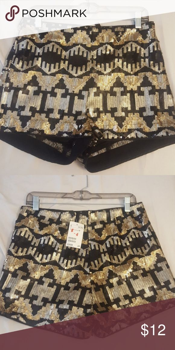 H&M sequin shorts Black & gold sequin shorts, great for a night out! H&M Shorts