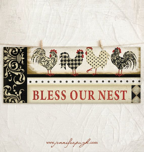 Bless Our Nest 8x18 Art Print Country Kitchen Wall Decor