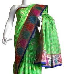 Buy Banarasi Chanderi Silk Saree With Border hand-woven-saree online