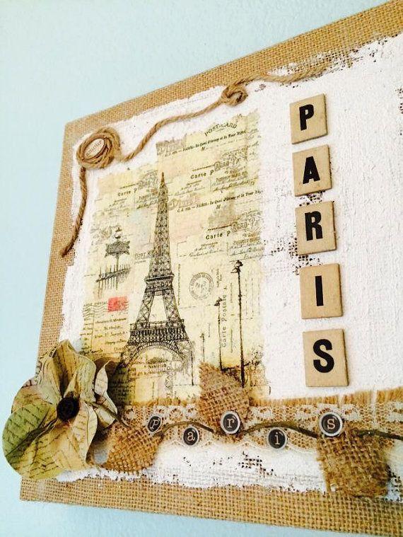 Paris Art Decoupage Collage Of Eiffel Tower Paper Print