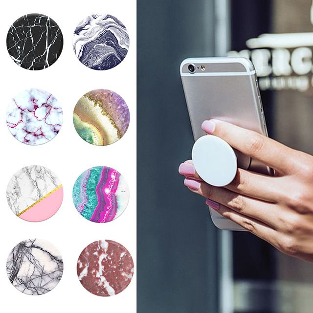 Marble Series Phone Holder Expanding Stand and Grip Pop Socket Mount for Smartphones and Tablets For Xiaomi iPhone7 Huawei