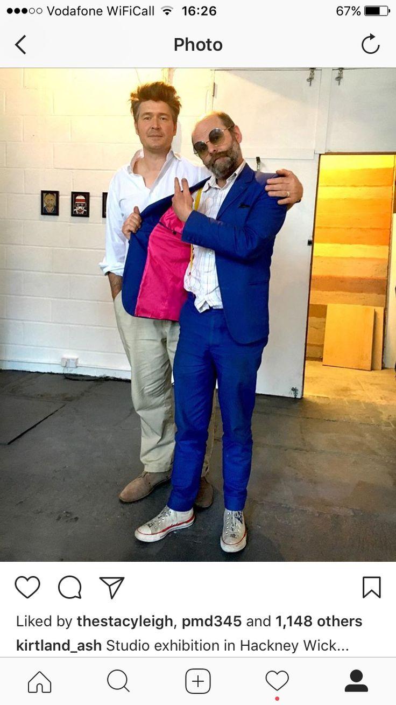 "Kirtland Ash and Gavin Turk at the studio showcase:  ""Legendsofthefrozenpond"" (Hackney, East London,) 2017."