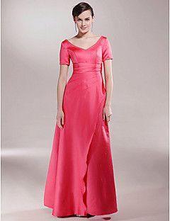 Lanting Bride® A-vonalú Molett / Filigrán Örömanya ruha Földig érő Rövidujjú Szatén - Gyöngydíszítés / Ráncolt / Hasított