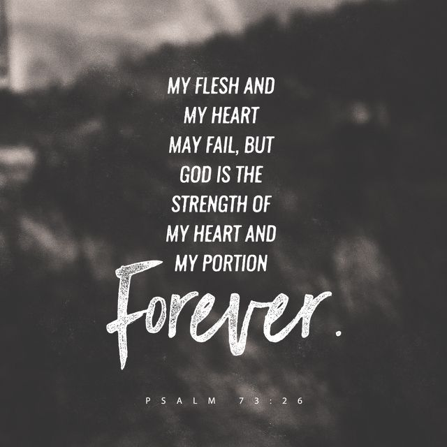 """My flesh and my heart faileth: but God is the strength of my heart, and my portion for ever."" ‭‭Psalms‬ ‭73:26‬ ‭KJV‬‬ http://bible.com/1/psa.73.26.kjv"