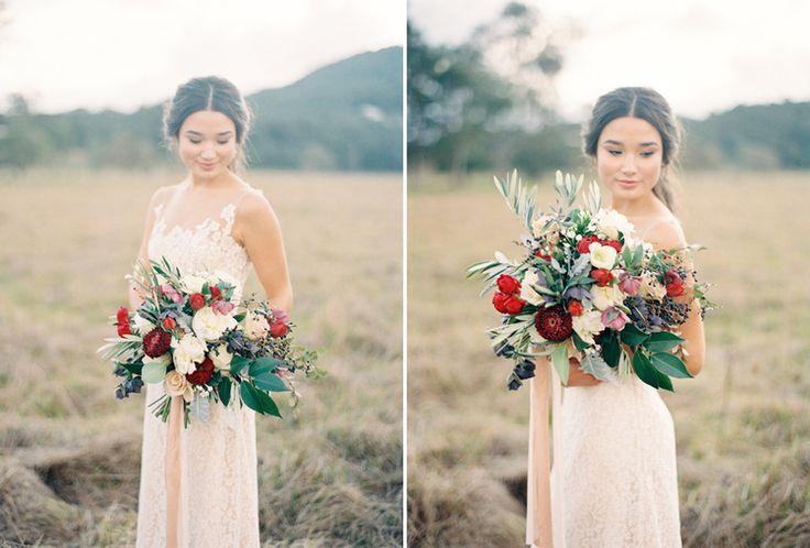 Wedding Inspiration, wedding dress, bouquet, flowers, olive leaf, organic, burgundy, fine art wedding, french, bride. Photography: Byron Loves Fawn Dress: George Wu Flowers: Rose Apple Flowers