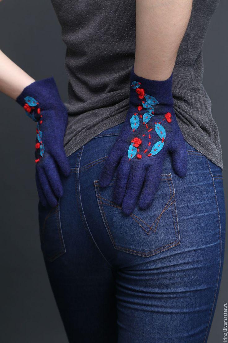 """Купить валяные перчатки """"Барбарис"""" - перчатки, перчатки женские, перчатки зимние, перчатки валяные"""