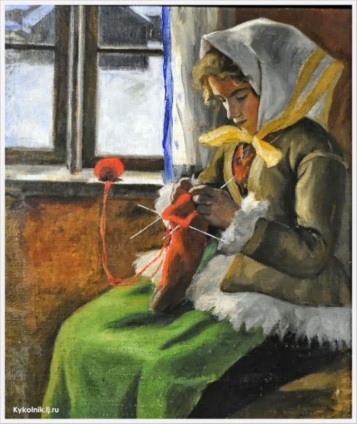 Young Girl Knitting By A Window, Anders Hol, (1867-1959), Sweden   /   kyk